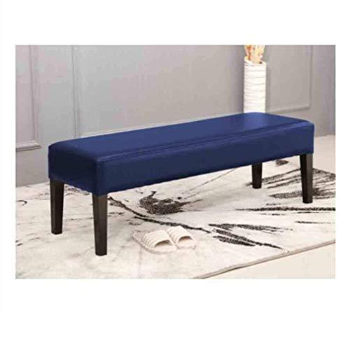 Faux Oil Wax lederen bank kruk zitje ottoman kruk woonkamer slaapkamer lounge meubel (kleur: donkerblauw, grootte: 120cm) 60 cm, donkerblauw