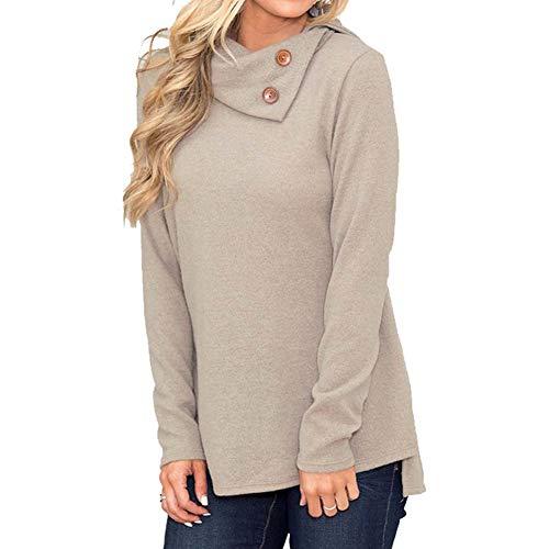 TTMOW Women's Button Collar Blouse Solid Color Long Sleeve Sweatshirt Khaki