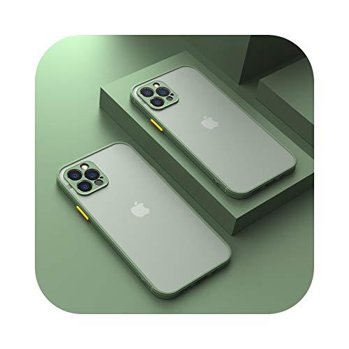 Protector de cámara para iPhone 11 Pro Max 12 Mini 7 8 6 6S Plus XR X XS MAX SE 2020 Carcasa de silicona Bumper cubierta esmerilada verde para iPhone 7 Plus