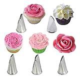YDBET 5 unids pétalos de Rosa Crema de Acero Inoxidable Puntas de la Torta de glaseado de tuberías boquillas pastelería Magdalena Herramientas de decoración