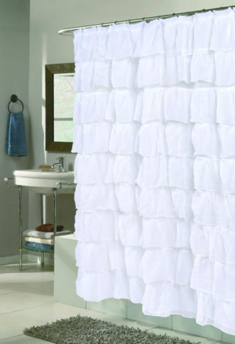 GoodGram White Ruffled Fabric Shower Curtain