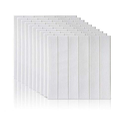 Gxxvip-Lockers Wallpaper-Stick und Peel, 3D-Self-Adhesive Wandpaneele Faux Foam Bricks Tapete for TV-Wand Sofa Hintergrund Wand-Dekor (Color : White, Size : 20 Piece)