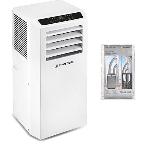 TROTEC Aire Acondicionado Portátil PAC 2010 SH + Aislamiento de Ventanas AirLock 1000/4 en 1: Refrigeración, Calefacción, Ventilación y Deshumidificación/Mando a Distancia/Termostato/Hasta 26m²