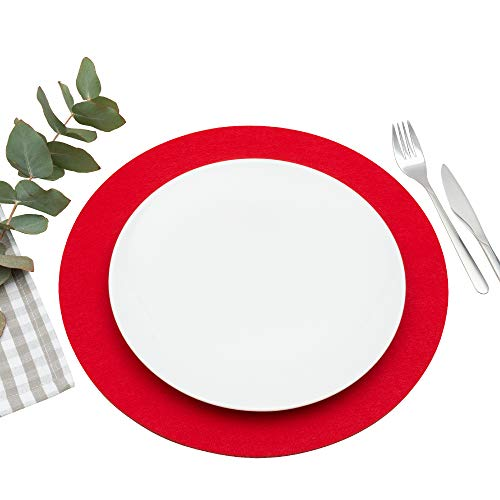 FILU Platzsets aus Filz 4er-Pack Rot rund (Farbe und Form wählbar) 35 cm Durchmesser – Tischset für drinnen und draußen Deko für Esstisch im Wohnzimmer, Gartentisch/Balkontisch