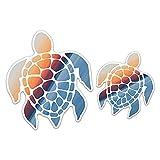 "Sea Turtle Vinyl Car Decal Bumper Sticker Removable - Sunset Design (Set of 2) (5"" & 3')"
