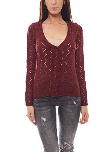Boysen's Ajourstrick-Jacke weiche Damen Strickjacke Jacke Cardigan mit durchbrochenem Muster Bordeaux, Größenauswahl:36/38
