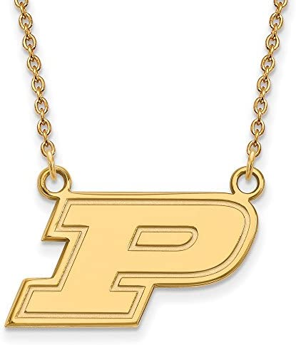 23mm x 12mm 925 Sterling Silver Yellow Gold-Plated Official Purdue Medium Pendant Charm