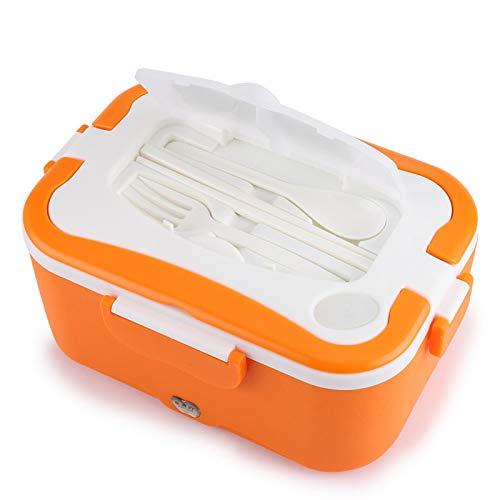 Omabeta Calefacción Fiambrera Fiambrera eléctrica 12V / 24V 1.5L para Viajar a casa(Orange, 12V)