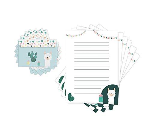 Friendly Fox Kinder Briefpapier LAMA & KAKTUS - Briefpapier mit Linien - 20 Blatt mit Umschlag - DIN A4 Briefpapier für Kinder Mädchen Jungen