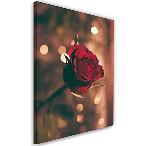 Impression Giclée Rose Toile Imprimé Fleur Nature Plante Flora rouge 40x60 cm