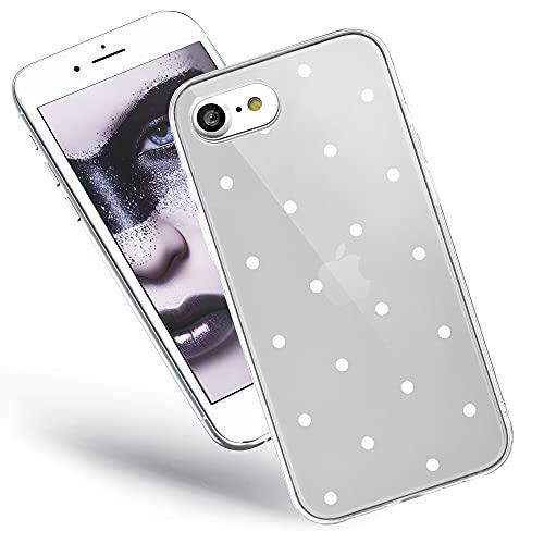 QULT Handyhülle kompatibel mit iPhone SE 2020, iPhone 7/8 Hülle transparent Silikon Bumper dünn Schutzhülle durchsichtig mit Motiv weiße Punkte