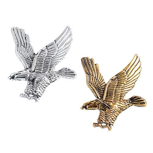 F Fityle 2 Piezas águila Insignia Broche Solapa Pin Hombres Traje Suéter Accesorios Regalo De La Joyería