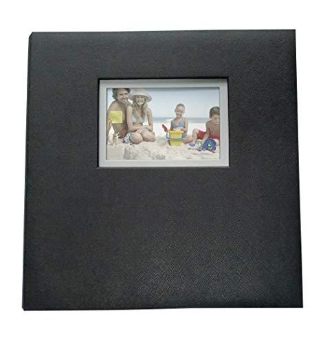 Greneric Photo Album Self Adhesive DIY Scrapbook Faux PU Leather Cover with Transparent Film (Black)