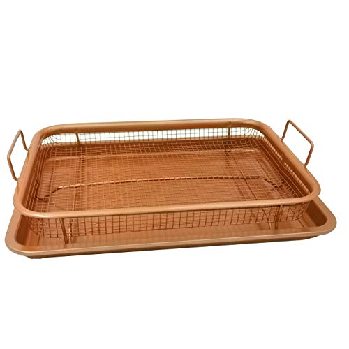 Oven Crisper Tray – Uses Hot Air to Crisp and Fry Food Without Oil or Unhealthy Fats - Carbon Steel Pan, Non Stick Grill Basket – Dishwasher Safe