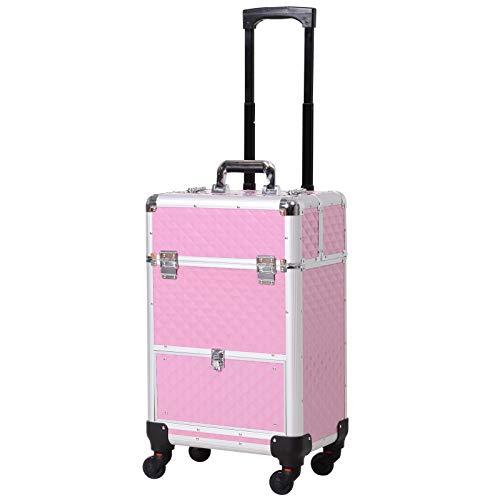 Valise trolley maquillage mallette cosmétique vanity poignée télescopique réglable 34L x 25l x 62H cm alu. rose