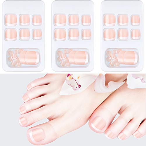 72 Pieces French False Toenails Artificial Fake Nail for Toe Glossy Square Short Toe Nail Tips Kit in 3 Boxes Full Cover with Nail Stick File for Nail Art Salon DIY Decoration (Light Pink)