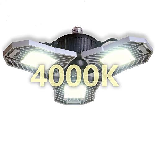 NATHOME LED Garage Lights,144 LEDs 60W/E26 daylight 6000lm/LED panels adjustable directional Garage Lighting,indoor use for Led Shop Lights,Workshop Light,Garage work lights (Daylight,60W'ordinary')