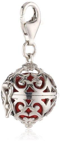 Engelsrufer Classic Charm für Damen mit roter Klangkugel rhodiniertes 925er-Sterlingsilber Größe 14 mm
