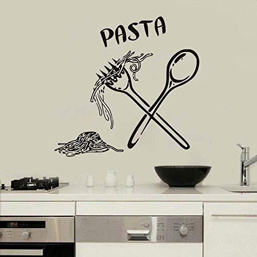 Italienische Pasta Essen Mahlzeit Küche Wandkunst Aufkleber Löffel Folk Cafe Home DIY Aufkleber Abnehmbare Dekoration Dekor Wandaufkleber