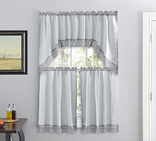 Café Curtains for Kitchen, Bathroom Curtains with Valance, Embroidered lace Border. (Gray)