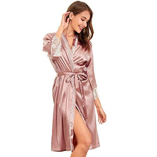 SHEKINI Kimono Mujer Batas Elegante Pijama 3/4 Manga con Cinturón Satén Camisón Sexy(S,Rosa Claro