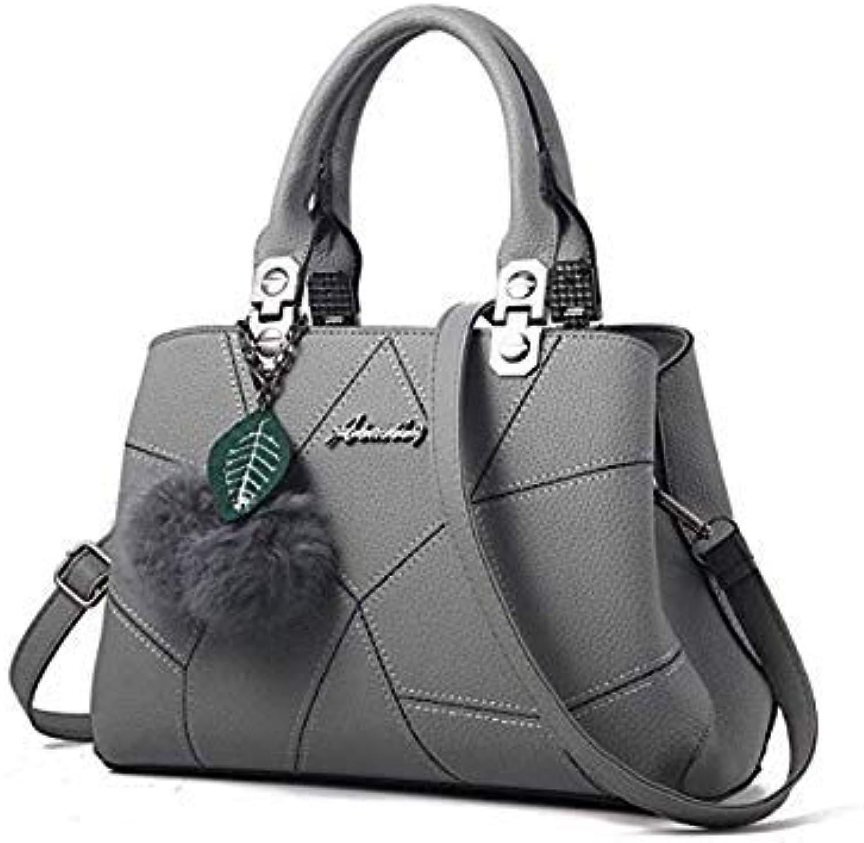 Bloomerang FGJLLOGJGSO Women Bag Pu Leather Tote Casual Brand Bag Ladies Handbag Evening Bag Solid Female Messenger Bags Travel Fashion Sac color Dark Grey 28CMX13CMX19.5CM