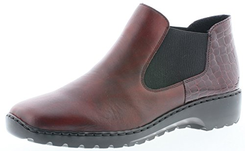 Rieker L6090 Damen Chelsea Boots, Stiefel, Stiefeletten, funktionaler Gummizugeinschlupf rot (Medoc/Bordeaux / 35), EU 38