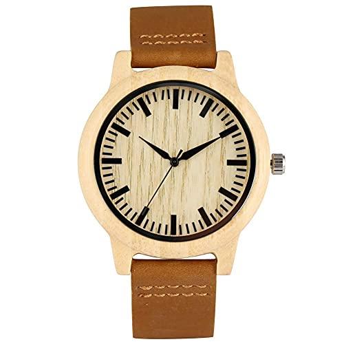 HYLX Elegante Reloj de Madera de Cuarzo para Mujer, Esfera Concisa con punteros Negros Relojes de Madera para Hombres, cómoda Correa de Cuero con Reloj de Pulsera con Hebilla para Hombres