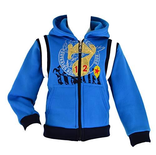 WebWeber Jacke Collegejacke Unisex Jungen Mädchen Fleecejacke Sweatjacke Hoode Sportjacke Kinder Baseball Schule 98-128 (98, Hellblau)