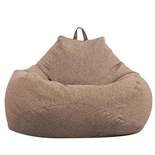 XBSJB Sillas Grandes Puff Bean Bag Color Sólido Sofá Funda Asiento Reclinable Exterior Interior Tumbona Perezosa para Adultos Niños Sin Relleno(Entrega En 5-7 Días),Marrón,M
