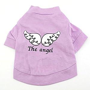 smalllee _ LUCKY _ ranger de petits vêtements pour chien T-shirt pour fille Ailes d'ange pour femme Lilas