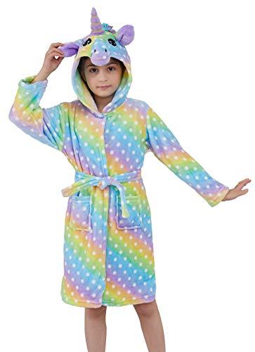 Ksnnrsng Kinder Sanft Einhorn Mit Kapuze Bademantel Nachtwäsche - Einhorn-Geschenke für Mädchen (Punkte Regenbogen, 6-7 Jahre)