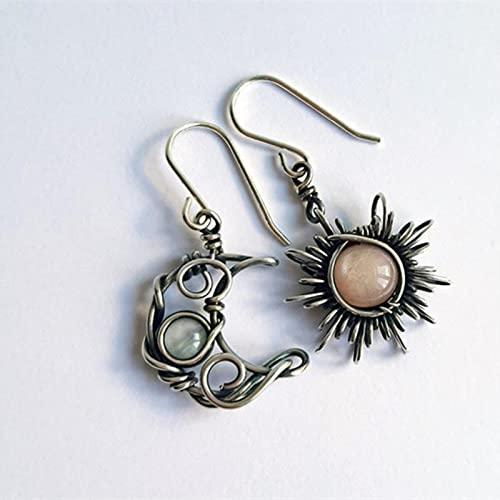 Pendientes Vintage de Sol y Luna, Pendientes de Gota de Cristal de Color Plateado, joyería de Moda Bohemia Femenina para Mujer, Regalo