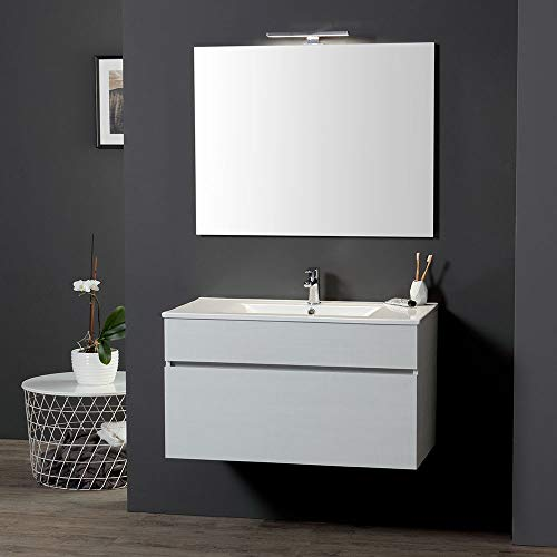 Mueble de baño suspendido de 90 cm, para lavabo y espejo, sol