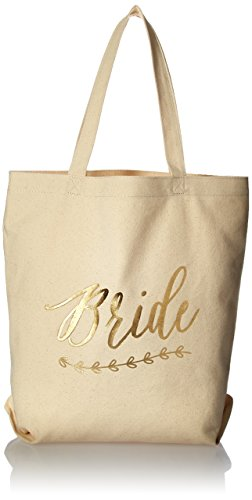 Kate Aspen Gold Foil Bride Canvas Tote Bag
