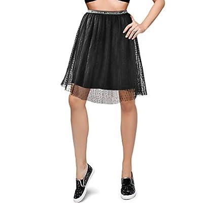 BRIGHT GG Womens Elastic Waist Skirt Knee Length Pleated Flared Stretchy Swing Skater Skirt for Teen Girls
