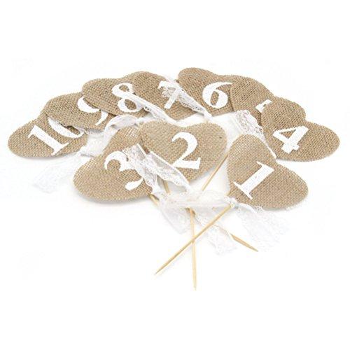 Winomo - Mesa con números 1 – 10, diseño rústico de yute burlap hessiena, corazón con forma de pancarta, decoración con palo