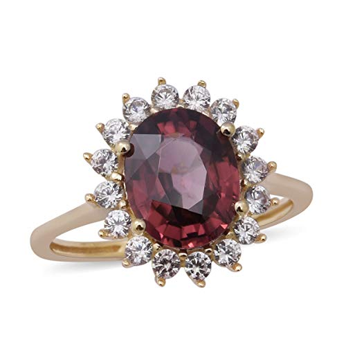 TJC 9ct Yellow Gold Pink Zircon Halo Ring for Women Anniversary Jewellery Size T with Cambodian Zircon, TCW 5.54ct