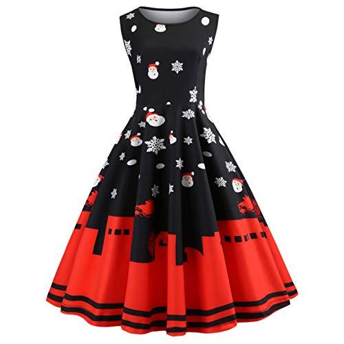 Moonuy Damen Ärmelloses Kleid Damen Vintage Schnee Weihnachten Weihnachtsmann Bedrucktes Kleid Kleid O-Ausschnitt A-Linie Weihnachten Schlank Party-Kleid (Schwarz, EU 34 / Asien S)