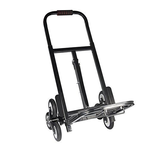 Carretilla Plegable Palya Aluminio, Carretilla Plegable de Aleación de Aluminio con 2 x3 Ruedas Carro de Escalera de Altura Regulable con Cuerda Elástica para Mudanzas Almacén Carga 200 kg
