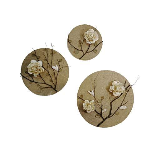 Dekoration Ma Seil Runde handbemalte dekorative Home Wand Anhänger getrocknete Blumen Nostalgie Veranda Wanddekoration (Size : 30+40+50CM)