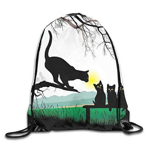 Drawstring Backpack Sports Gym Bag for Women Men, D1051 Mother Cat On Tree Branch And Baby Kittens In Park Best Friends I Love My Kitty Graphic