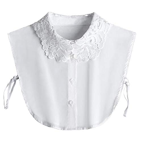 YAKEFJ Lady Half-Shirt Blouse Detachable Lace Chiffon Fake Collars Dicky Collar Faux Collar (08WHITE)