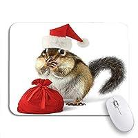 NINEHASA 可愛いマウスパッド レッドサンタクロースの帽子のクリスマスシマリス動物面白い滑らないゴムバッキングコンピュータマウスパッドノートブックマウスマット