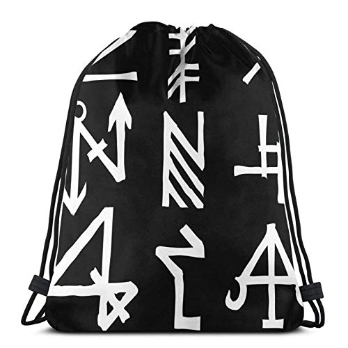 Lmtt Mochila con cordón Mochila deportiva Mochila de viaje Bolsa de viaje Viking Norse Scandian Runes