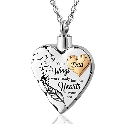 UGBJ Necklace for Ashes Angel Wings Love Heart Necklaces for Ashes Stainless Steel Memorial Pendant Jewelry Gifts for Men Women Mom/Brother/Man Ashes urns Cremation Keepsake Memorial