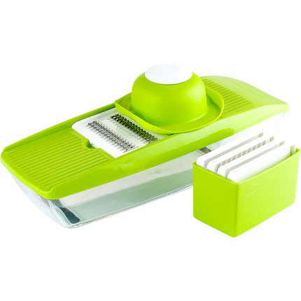 Mandoline Slicer Spiralizer Vegetable Cutter Grater Chopper Julienne Slicer-5 Interchangeable Stainless Steel Blades with Hand Protector, Food Storage Container - For Cucumber, carrot, potato etc …