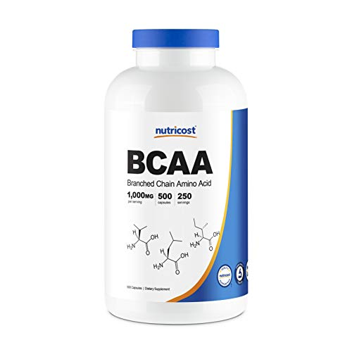 Nutricost BCAA Capsules 2:1:1 500mg, 500 Caps - 500mg of L-Leucine, 250mg of L-Isoleucine and L-Valine Per Capsule