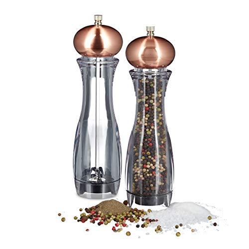 Relaxdays 2 x Pfeffermühle manuell im Set, Gewürzmühle oder Salzmühle, mit Keramikmahlwerk, nachfüllbar, Kupfer