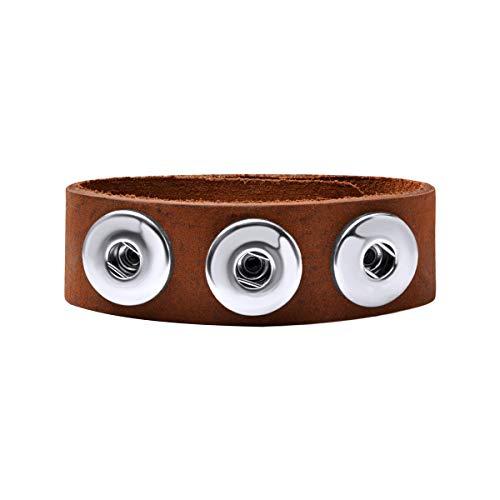 Quiges Damen 18mm Druckknopf Chunk Armband aus Leder Braun Pfefferkuchen Verstellbar 18.5-20.5cm für Click Buttons